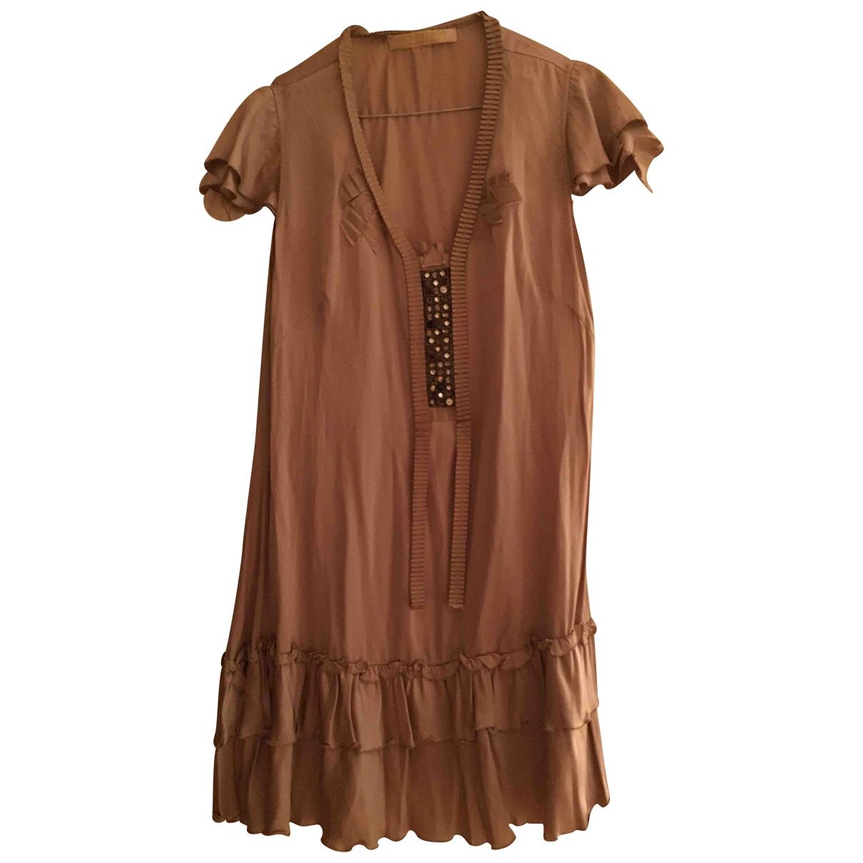 Non Signé / Unsigned \N Beige Silk dress for Women 42 IT