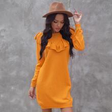 Ruffle Trim Solid Sweater Dress