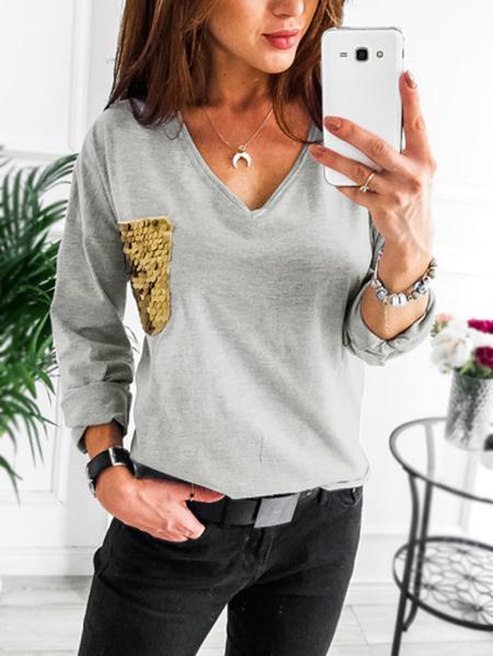Yoins Grey V-neck Sequins Pocket T-shirts