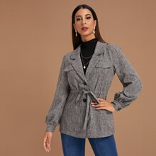 Notch Collar Drawstring Waist Single Breasted Coat