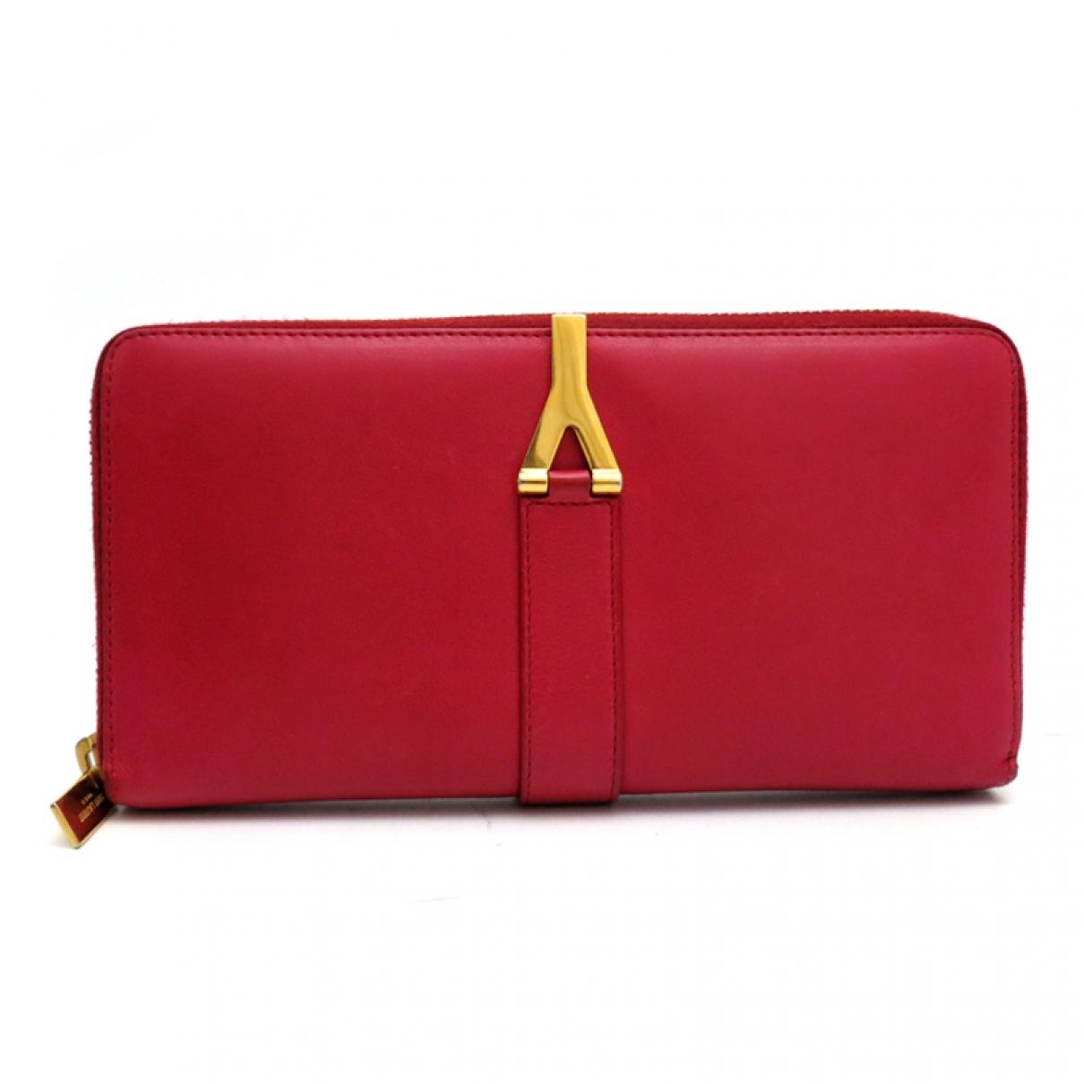 Saint Laurent - Portefeuille Chyc pour femme en cuir - rouge