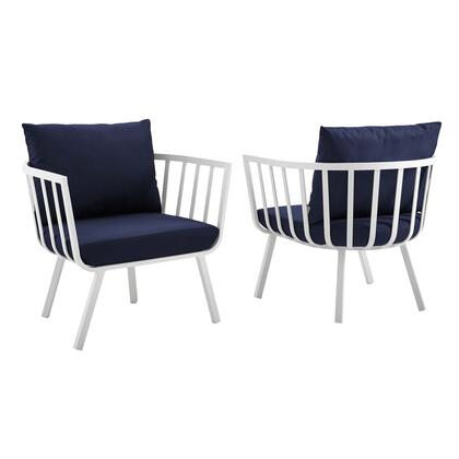 Riverside Collection EEI-3960-WHI-NAV Outdoor Patio Aluminum Armchair Set of 2 with Powder-Coated Aluminum Frame  All-Weather Fabric Cushions and