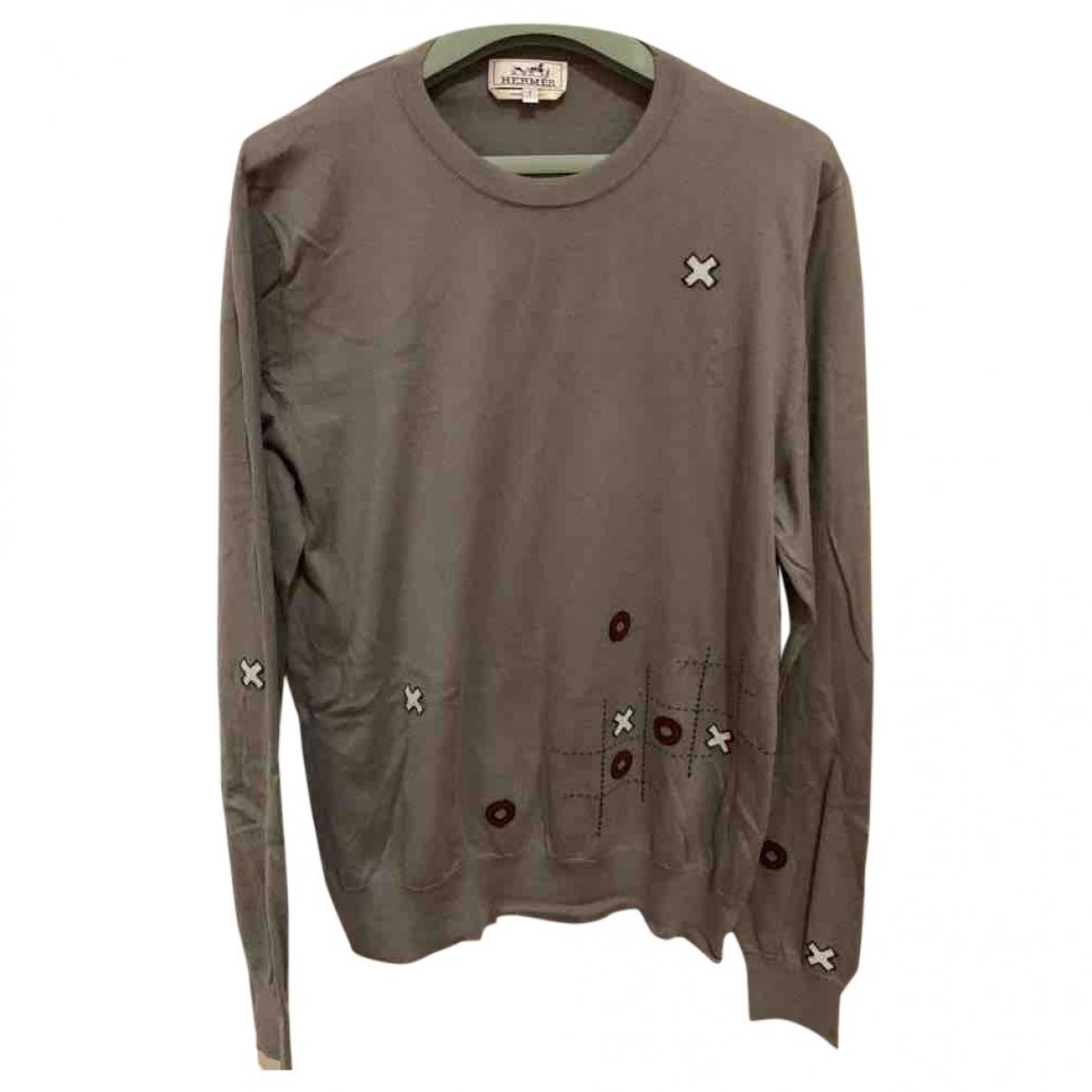Hermes \N Pullover.Westen.Sweatshirts  in  Braun Baumwolle