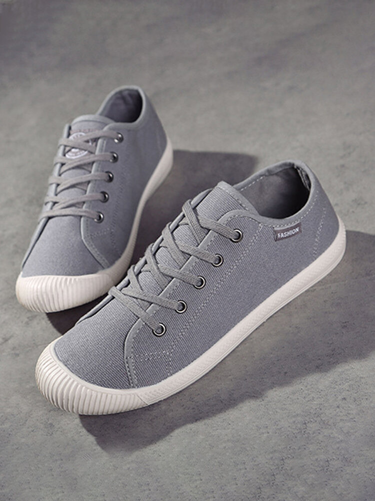 Women Canvas Solid Color Soft Casual Lace-up Round Toe Sneakers