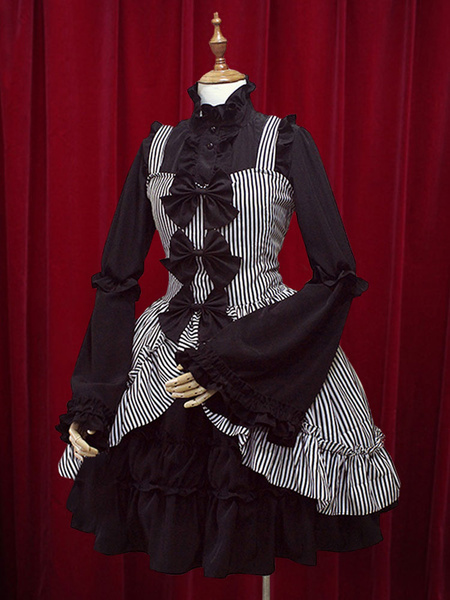 Milanoo Dos piezas de la trompeta arcos de manga con volantes vestido de Lolita