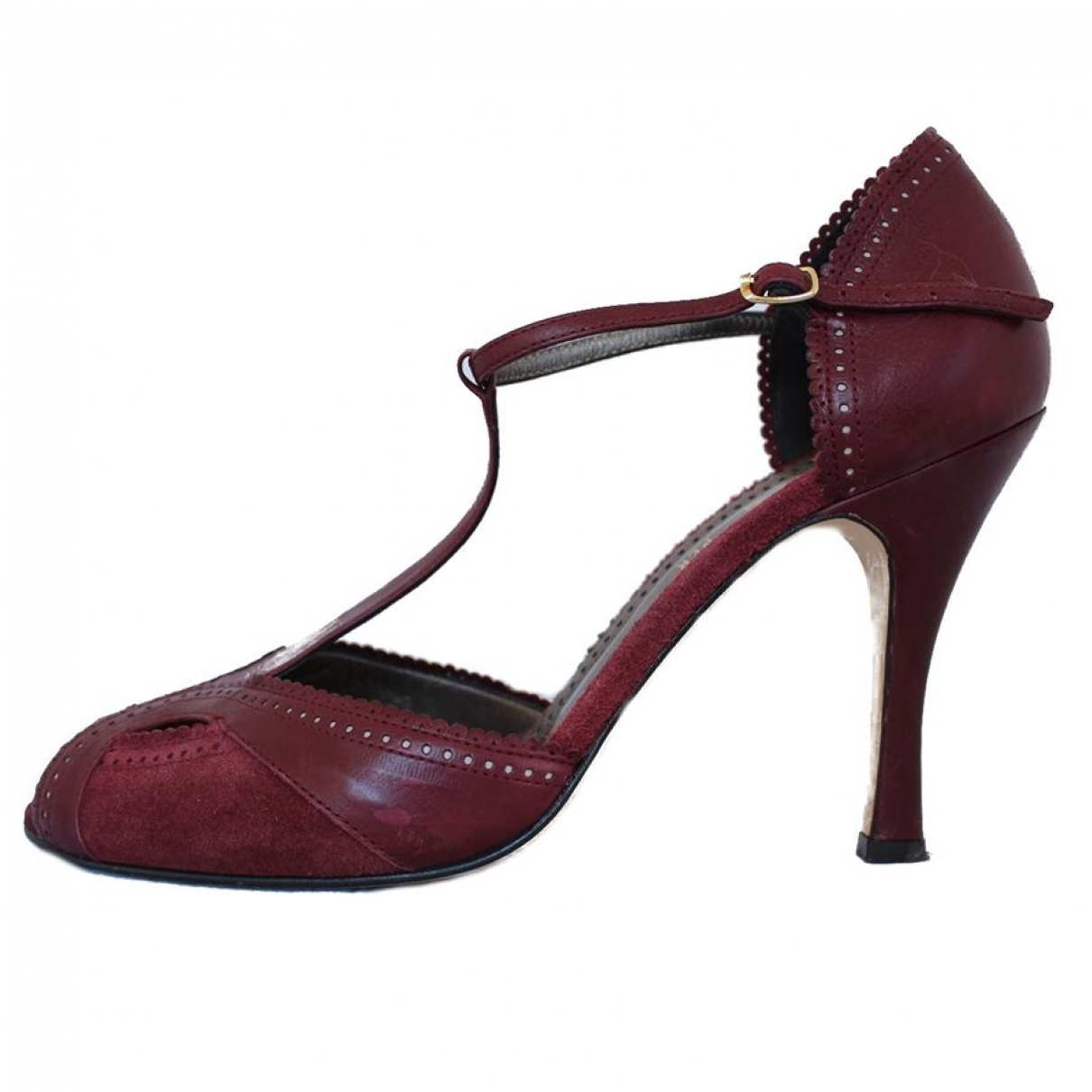 Non Signé / Unsigned \N Burgundy Leather Heels for Women 38 EU