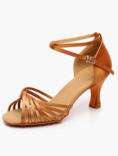 Milanoo Salon de baile zapatos Open Toe calidad tobillo correa