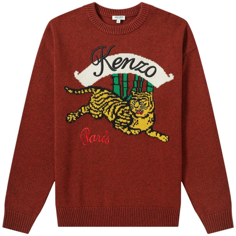 Kenzo Bamboo Tiger Knitted Jumper Colour: BURGUNDY, Size: LARGE
