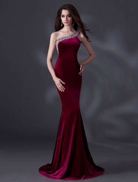Milanoo Vestidos de fiesta largos Vestido de noche de terciopelo con escote a un solo hombro