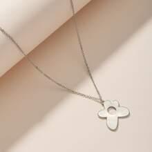 Halskette mit Metall Blumen Anhaenger