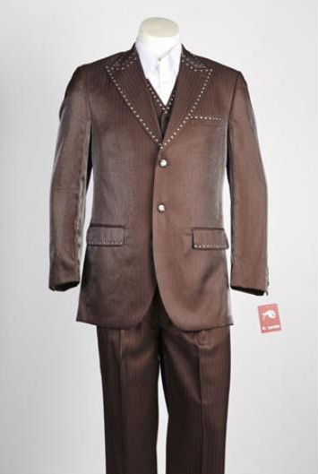 Mens 2 Button Single Breasted Suit Brown