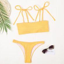 Bikini Badeanzug mit Band auf Schulter