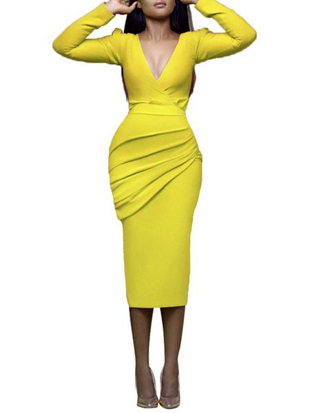 Milanoo Vestidos ajustados Manga larga amarilla Vestido plisado con cuello en V sexy Vestido sin mangas