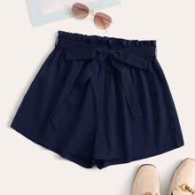 Shorts Tallas Grandes Cinta Liso Azul marino Casual