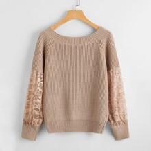 Pullover mit Kontrast Spitzen und Raglan Ärmeln
