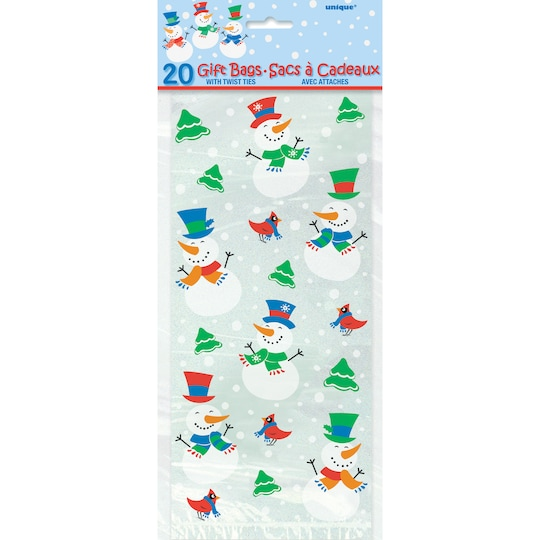 Snowman Glee Holiday Cellophane Bags, 20Ct By Unique | Michaels®