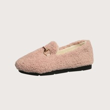 Metal Decor Lambswool Loafers