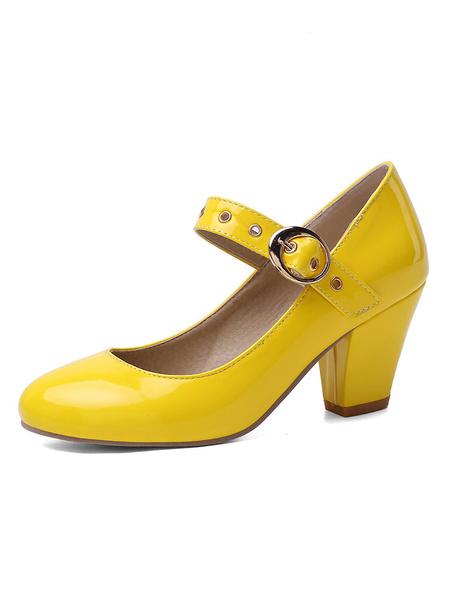 Milanoo Zapatos de tacon medio bajo para mujer Vintage Mary Jane Retro Tacones gruesos con punta redonda Bombas