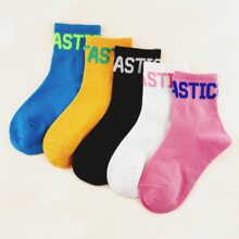 5pairs Toddler Girls Letter Graphic Socks