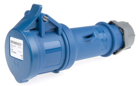 MENNEKES , StarTOP IP44 Blue Cable Mount 3P Industrial Power Socket, Rated At 16.0A, 230.0 V