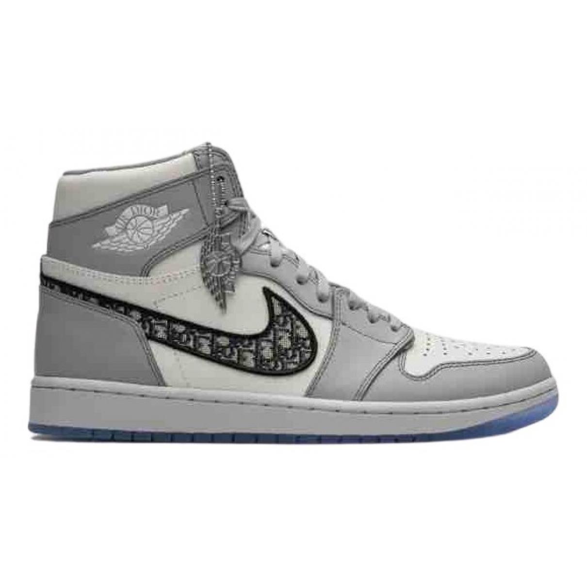 Jordan X Dior - Baskets   pour homme en cuir - blanc