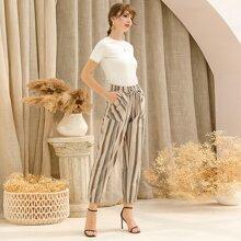 Striped Drawstring Waist Carrot Pants