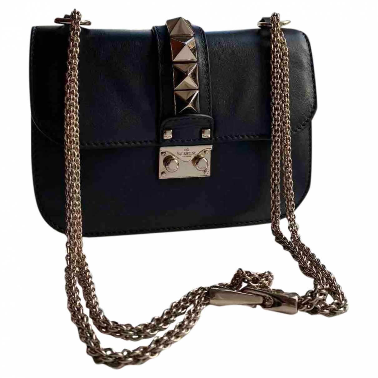 Valentino Garavani Glam Lock Handtasche in  Schwarz Leder