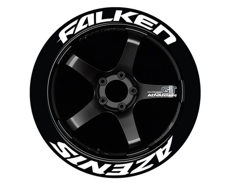 Tire Stickers FALAZE-1416-125-4-W Permanent Raised Rubber Lettering 'Falken Azenis' - 4 Of Each - 14