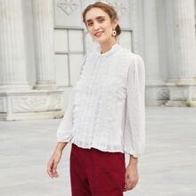 Einfarbige Bluse mit Punkten Muster und Rueschenbesatz