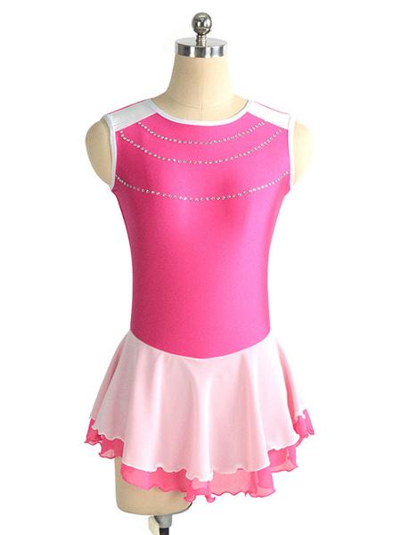 Milanoo Skating Dress Rose Polyester Color Block Dance Costumes
