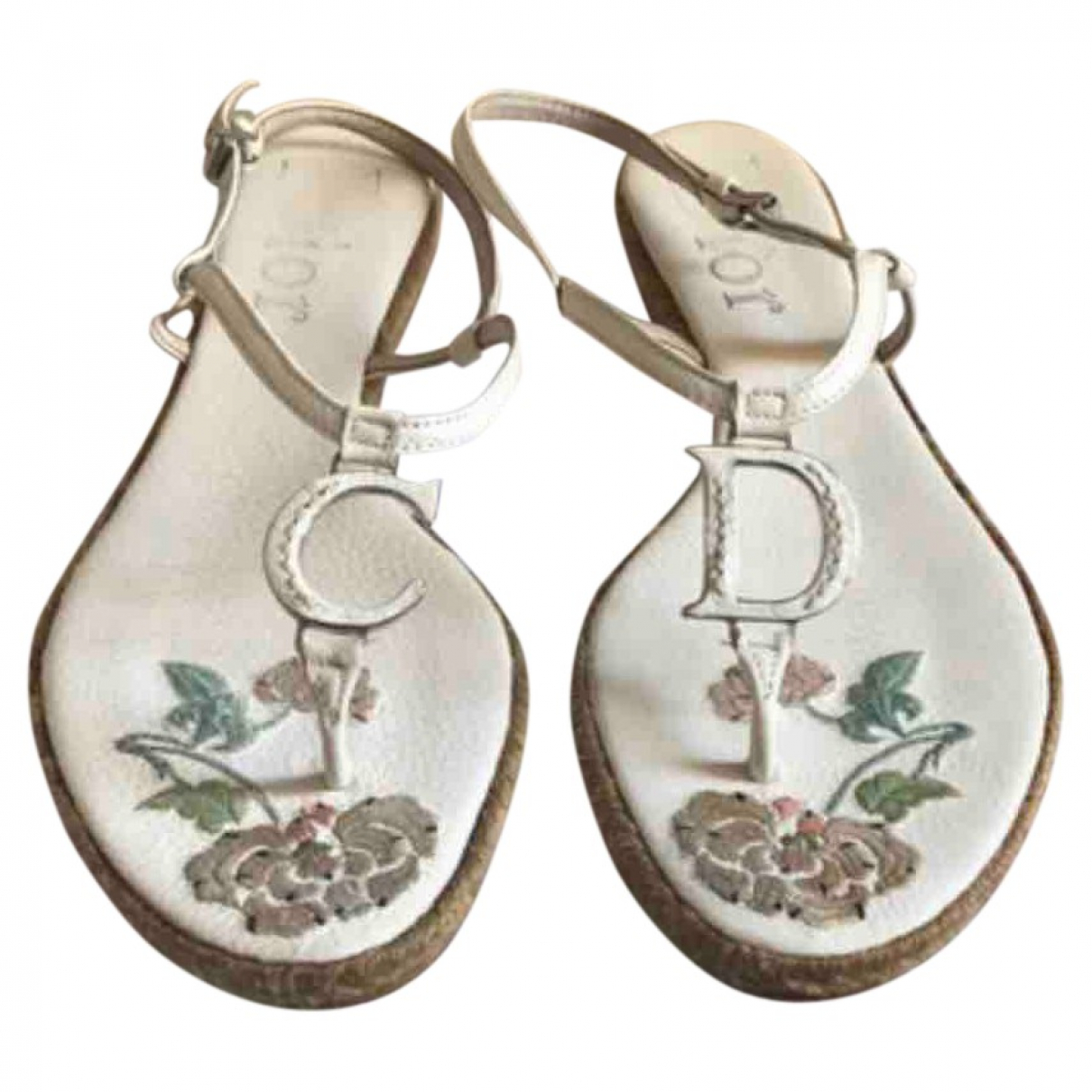 Dior \N White Leather Sandals for Women 38 EU