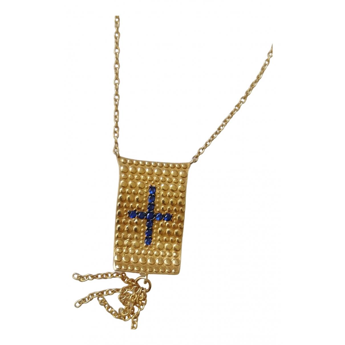 Non Signe / Unsigned Croix Kette in  Gold Silber
