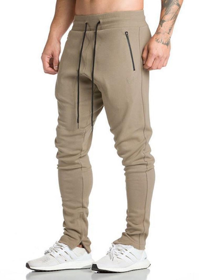 Ericdress Zipper Pencil Pants Lace-Up Men's Casual Pants
