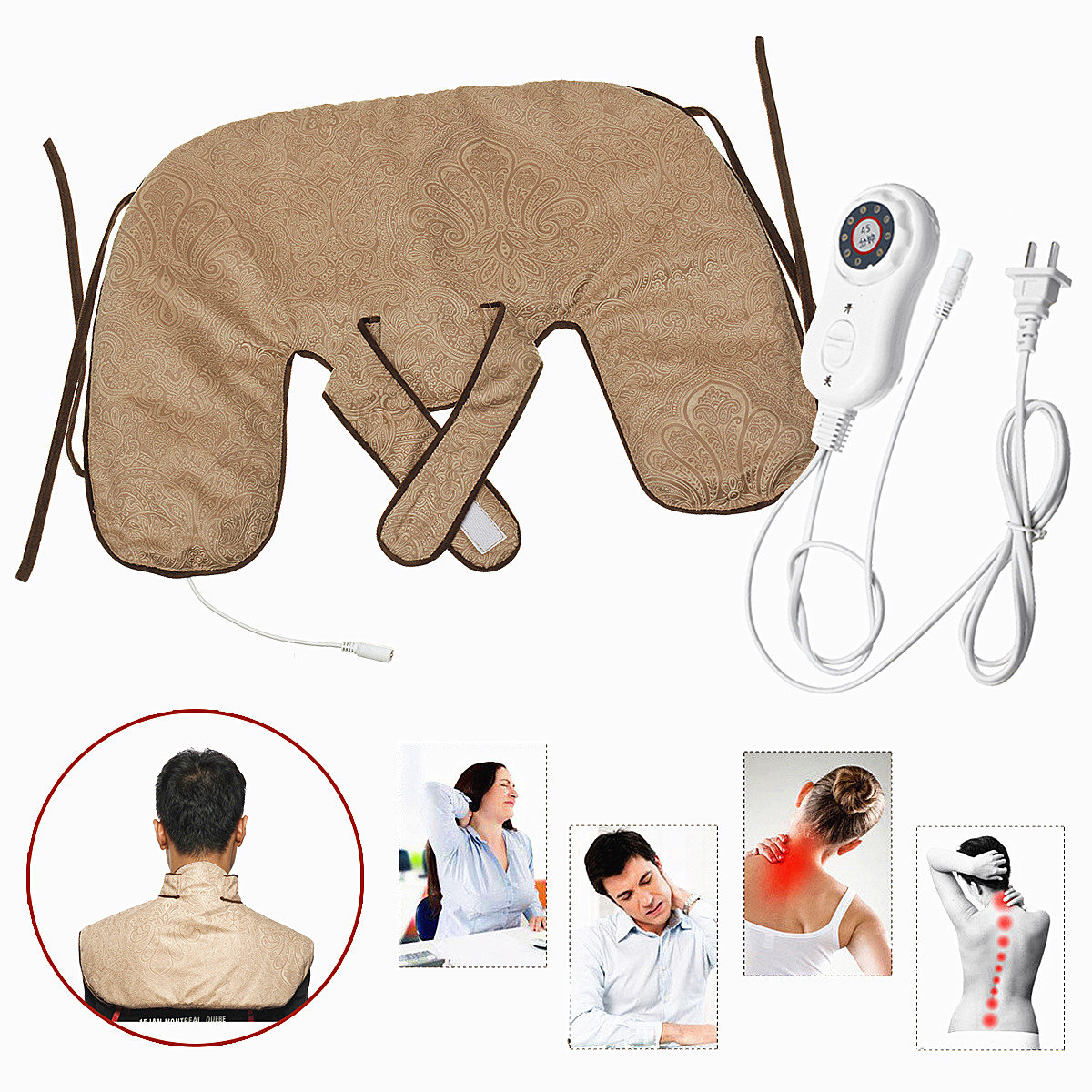 220V Electric Heating Shoulder Pad 7-Speed Cervical Physical Therapy Device Neck Pad Moxibustion Bag