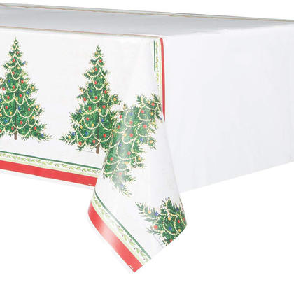 Classic Christmas Tree Plastic Tablecloth for Home Party Decor, 84