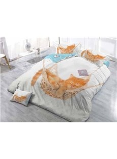 Sleeping Cat Wear-resistant Breathable High Quality 60s Cotton 4-Piece 3D Bedding Sets