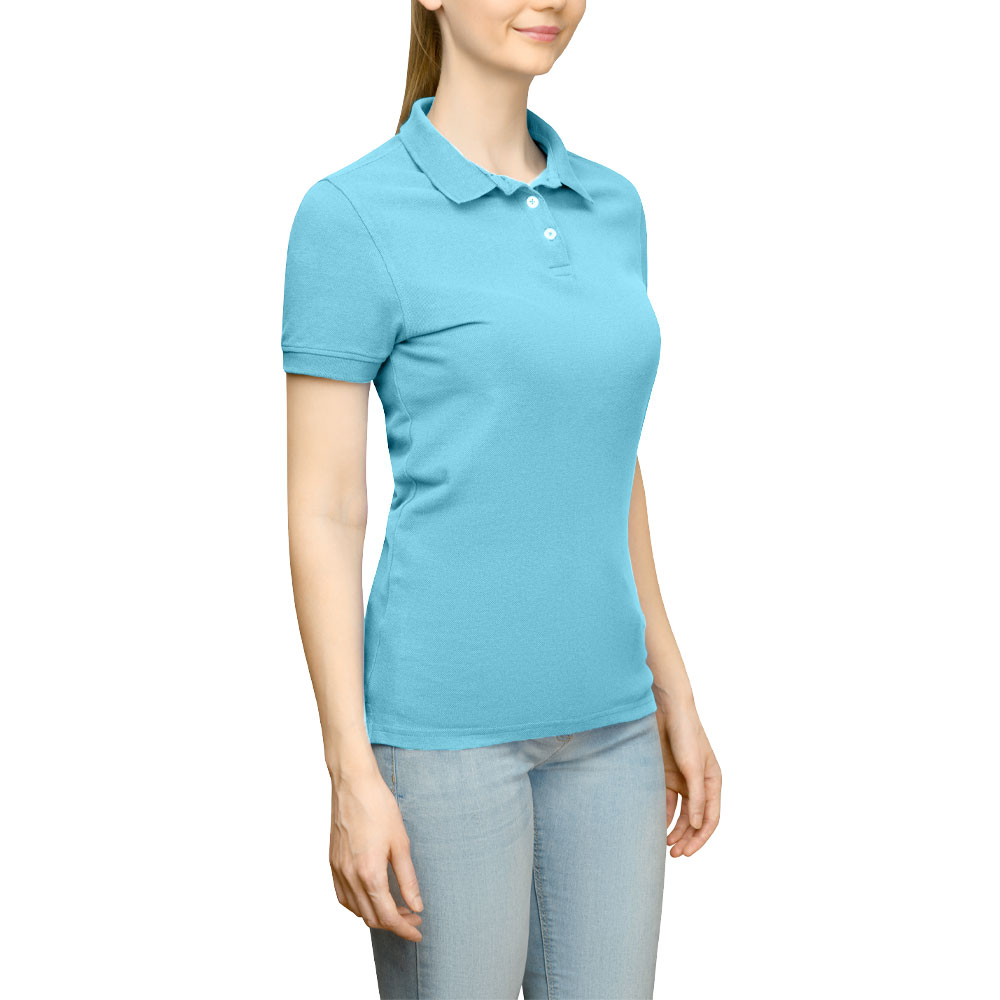 Page & Tuttle Solid Jersey Polo Golf Shirt Blue- Womens- Size XS