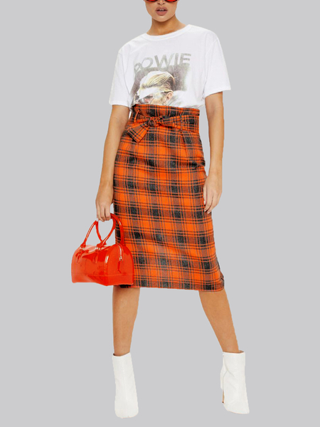 Yoins Orange Belt Design Plaid High-Waisted Skirt