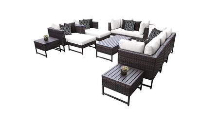 Barcelona BARCELONA-12h-BRN-WHITE 12-Piece Patio Set 12h with 4 Corner Chairs  2 Club Chairs  1 Armless Chair  1 Coffee Table  2 Ottomans  2 End