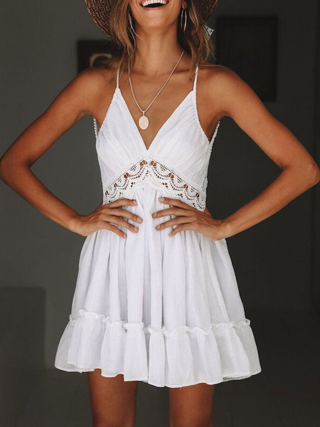 Milanoo Summer Dress Lace Insert Backless Sleeveless Short Slip Dress