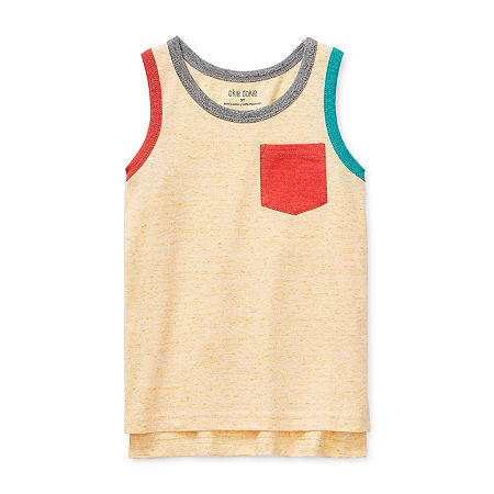 Okie Dokie Toddler Boys Round Neck Tank Top, 4t , Yellow