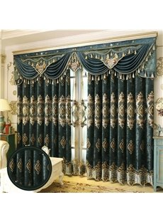 Decorative and Blackout Chenille Embroidery Window Curtains Living Room Bedroom Curtains Drapes Made to Measure No Pilling No Fading No off-lining