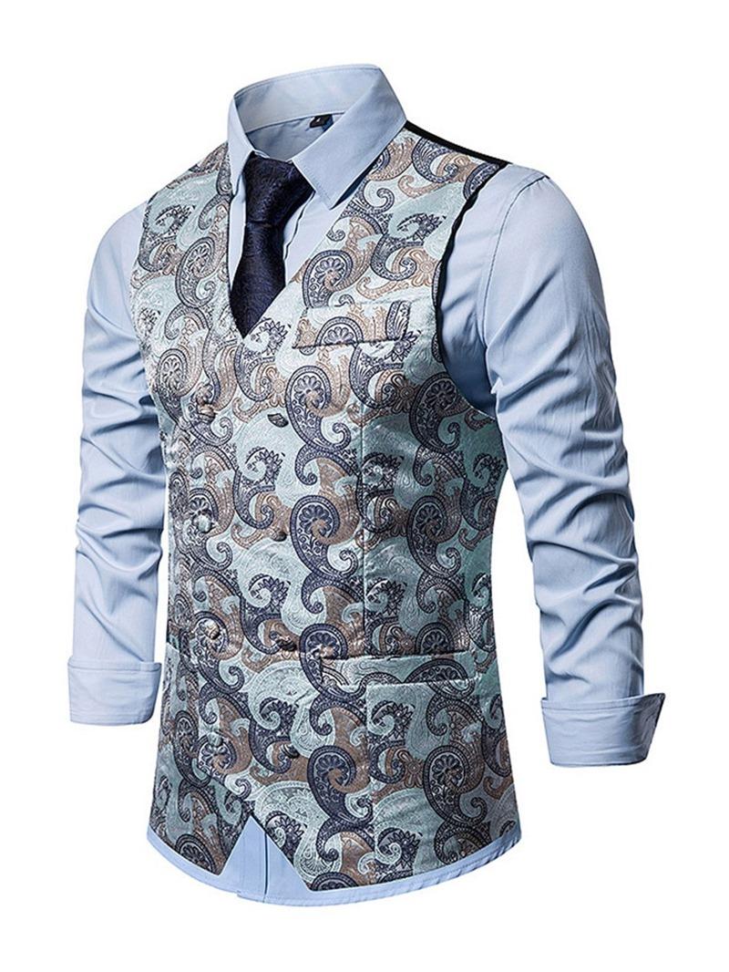 Ericdress Color Block Button V-Neck Fashion Men's Single-Breasted Waistcoat