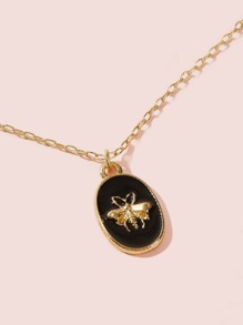 Bee Decor Coin Charm Necklace 1pc