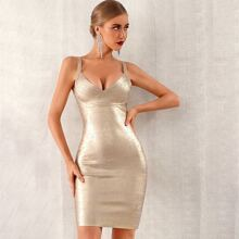 Adyce Zip Back Metallic Cami Bandage Dress