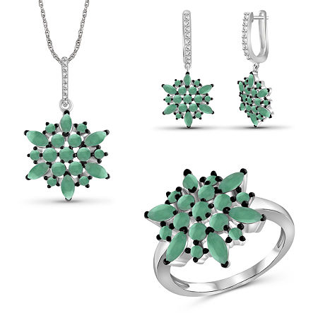 Genuine Green Emerald Sterling Silver 3-pc. Jewelry Set, 6 , No Color Family