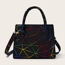 Geometric Pattern Satchel Bag