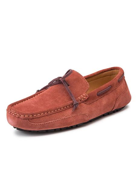 Milanoo Mocasines para hombre Dockside Mocasin Zapatos de conduccion sin cordones con punta redonda