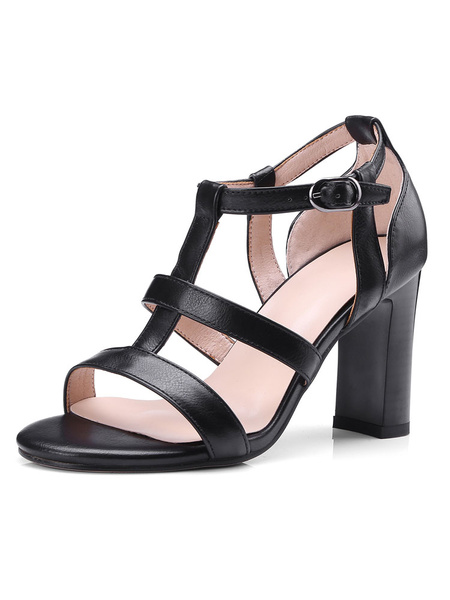 Milanoo High Heel Sandals Womens T-strap Open Toe Chunky Heel Sandals