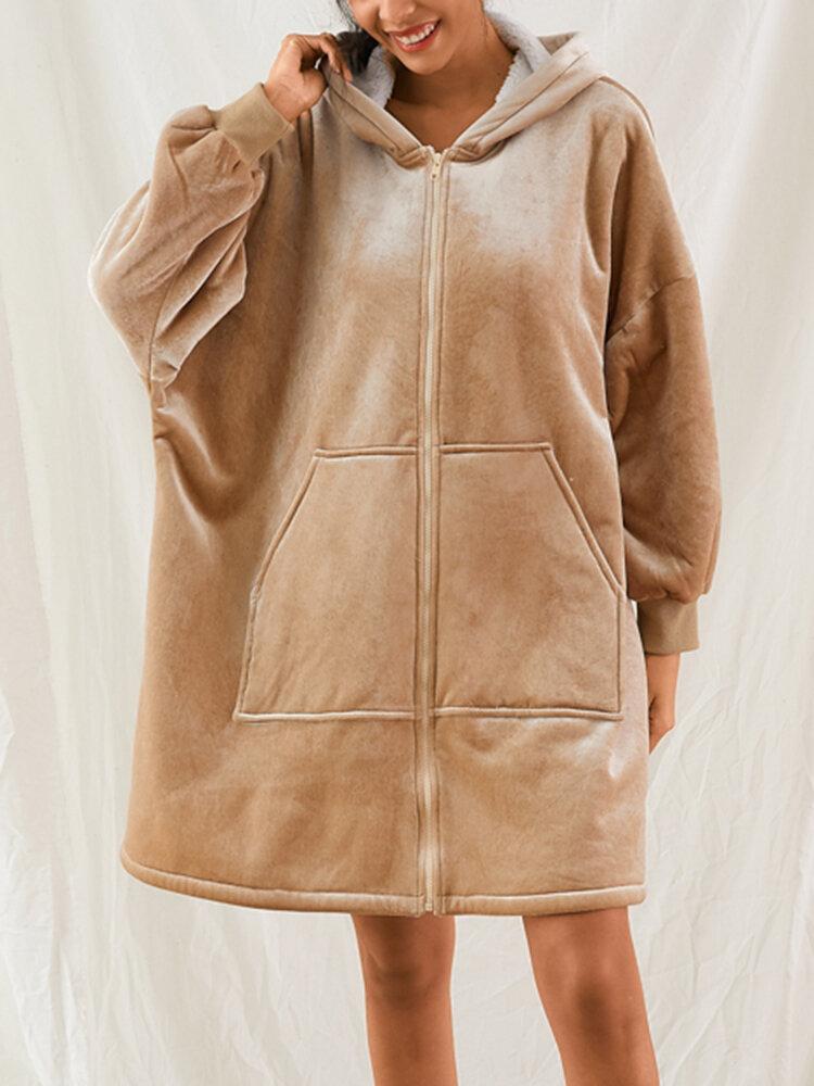 Women Zip Front Double Fleece Warm Robe Wearable Blanket Oversized Hoodie Cozy Sweatshirt With Kangaroo Pocket